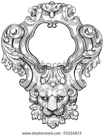 Vintage Frame Lion Head Bitmap Copy Stock Illustration