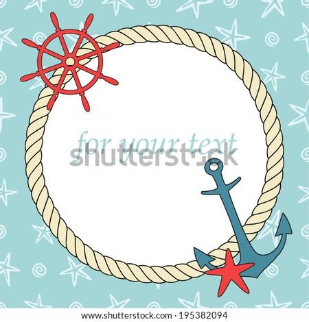vintage frame nautical illustration vector - Nautical Picture Frame