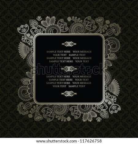Vintage frame on a dark seamless background with floral decoration - stock vector