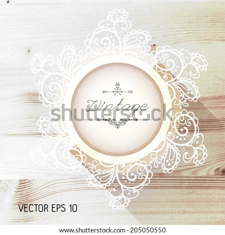 Vintage frame on a realistic wood texture , vector - stock vector