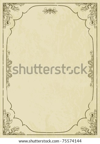 Vintage frame on grunge background - stock vector