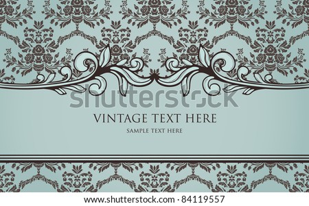 vintage frame on seamless damask background - stock vector