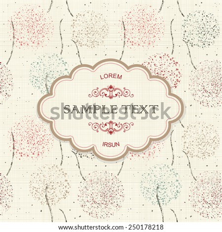 vintage frame on seamless texture background with colorful abstract pattern - stock vector