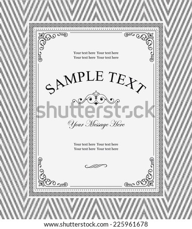 vintage frame on seamless tweed pattern - stock vector