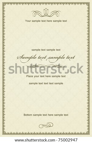 Vintage frame or diploma on damask background. - stock vector