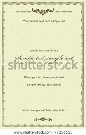 Vintage frame or diploma on damask background. - stock vector