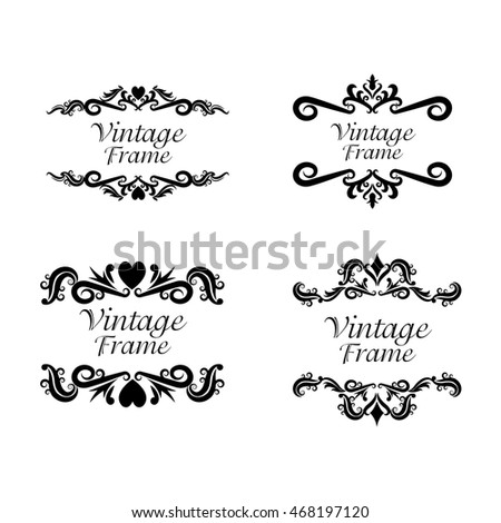 Vintage frame ornament decoration icon set. Isolated and black illustration