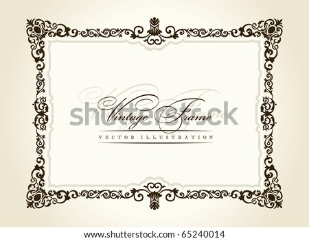 Vintage frame retro decor ornament. Vector calligraphic retro framework. Baroque vintage black border. Royal Elegant Book flourish decorative