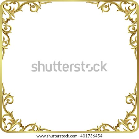 Vintage frame retro decoration corner template design.Gold photo frame with corner line floral for picture, Vector design decoration pattern style.frame floral border template illustration - stock vector