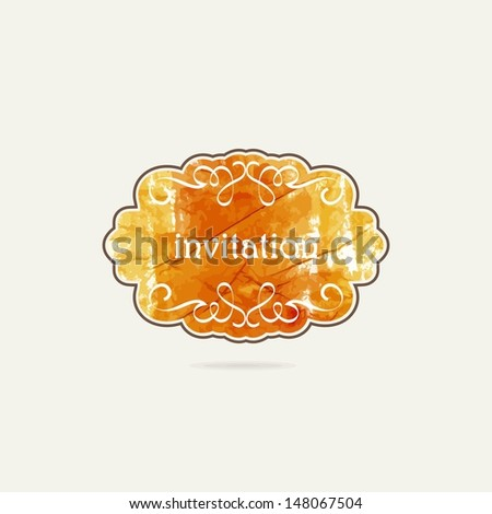 Vintage frame. Romantic love label. Crumpled paper label. Aged paper sticker. - stock vector