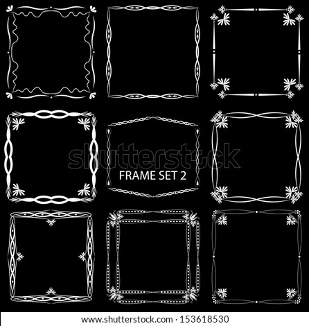 Vintage frame set 2. Abstract vintage frame design. Easy to edit frames, objects are grouped separately.   - stock vector