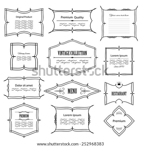 Vintage frame set isolated on white. Calligraphic design elements.