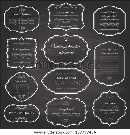 Vintage frame set on chalkboard retro background. Calligraphic design elements. - stock vector