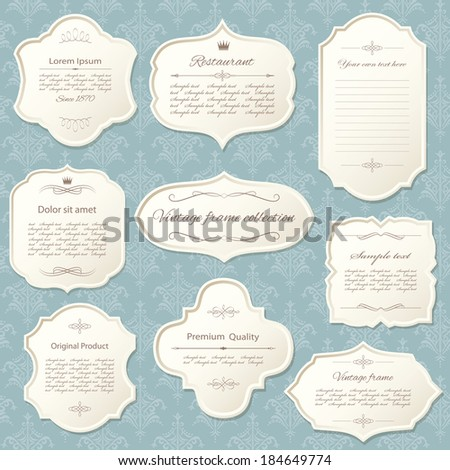 Vintage frame set on damask background. Calligraphic design elements. - stock vector