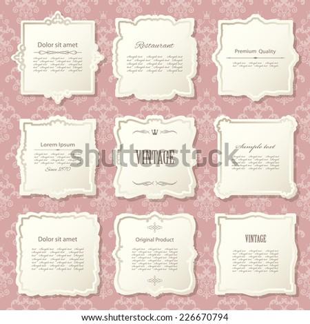 Vintage frame set on damask seamless background. Calligraphic design elements. - stock vector