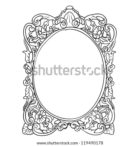 Vintage frame sketch vector isolated on white background - stock vector