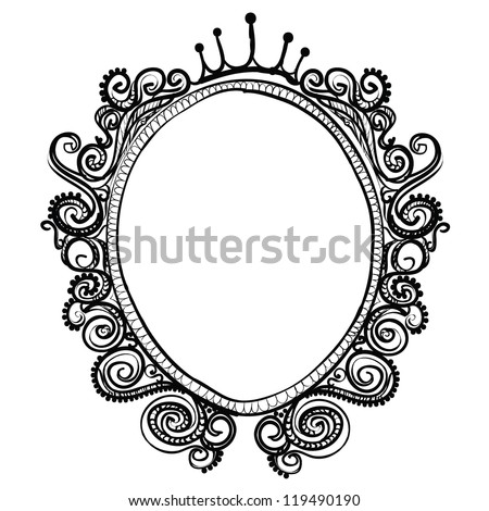 Vintage frame sketch vector isolated on white background