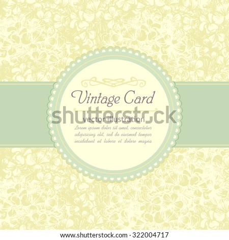 Vintage frame template with floral yellow background