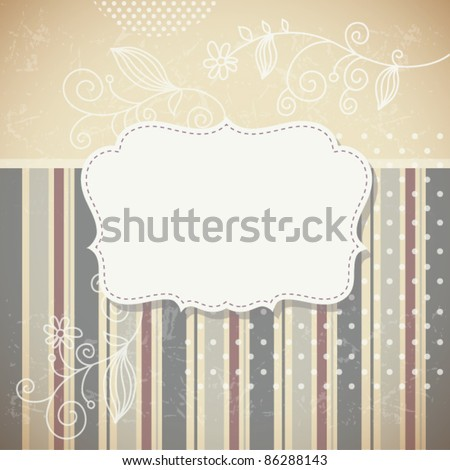 Vintage frame, vector retro background - stock vector