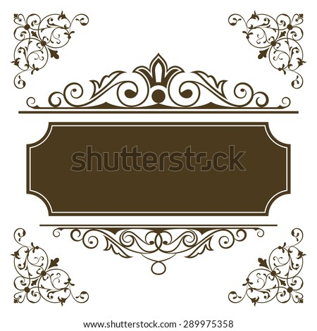 Vintage frame vector template with copy space. - stock vector