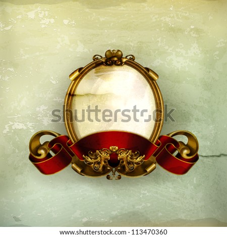 Vintage frame white, old-style vector - stock vector