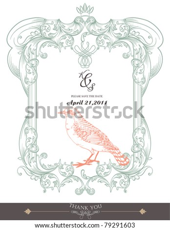 vintage frame with bird - stock vector