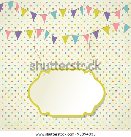Vintage frame with birthday  bunting flags - stock vector