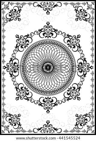 Vintage frame with black luxury ornament on white background - stock vector