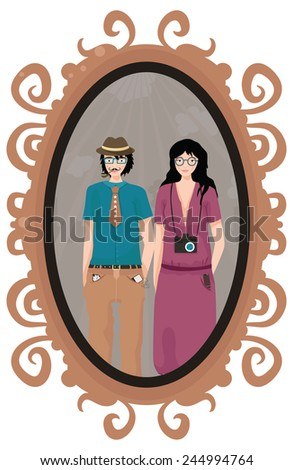 Vintage frame with couple of hipsters on the photo. - stock vector