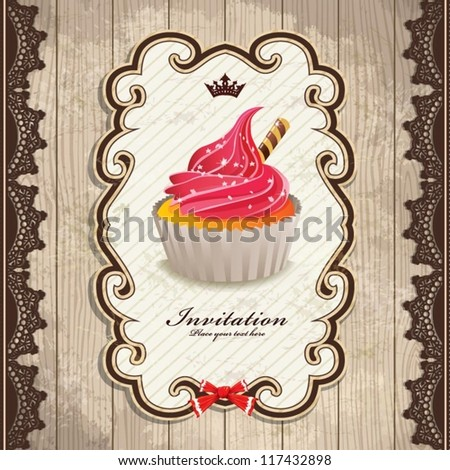 Vintage frame with cupcake invitation template design with ribbon - stock vector