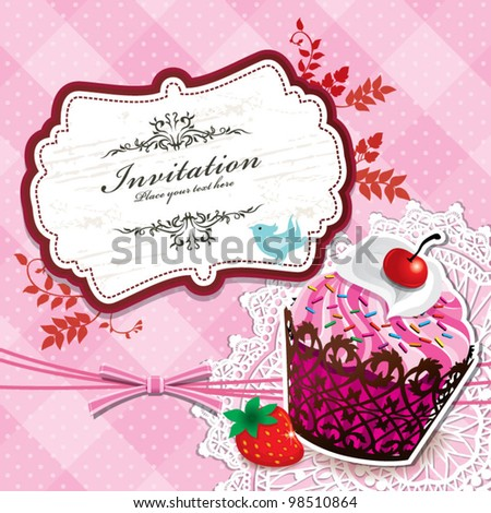Vintage frame with cupcake template (21) - stock vector