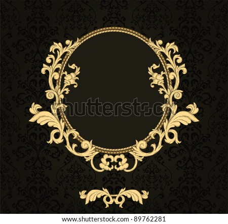 Vintage frame with damask seamless background - stock vector