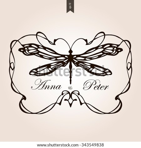 Vintage frame with dragonfly and place for your text.Elegant element for design template.Romantic background.Vector illustration - stock vector
