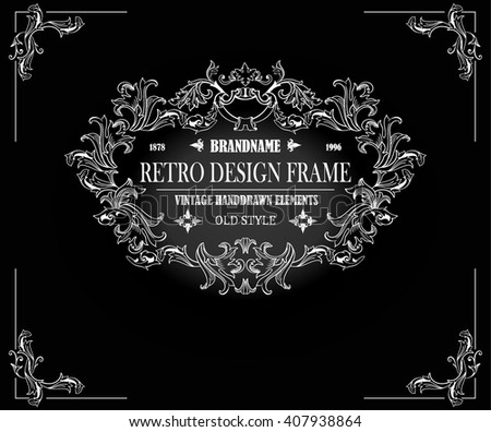 Vintage frame with floral ornament for restaurant name design.Template for making invitations, posters,banners and other design.Black illustration variant. - stock vector