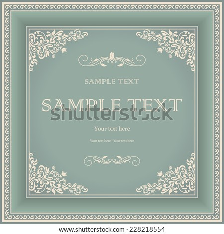 vintage frame with floral pattern on green background - stock vector