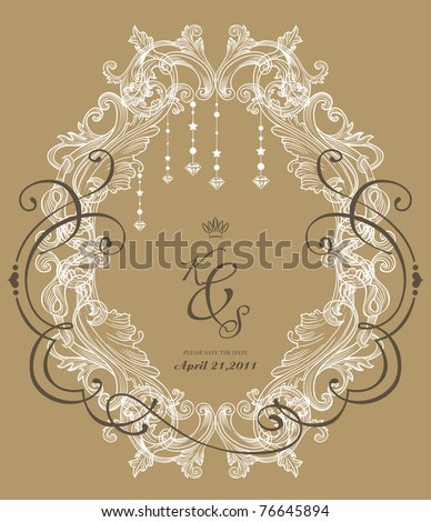 vintage frame with recycle brown paper - best invitation card - stock vector