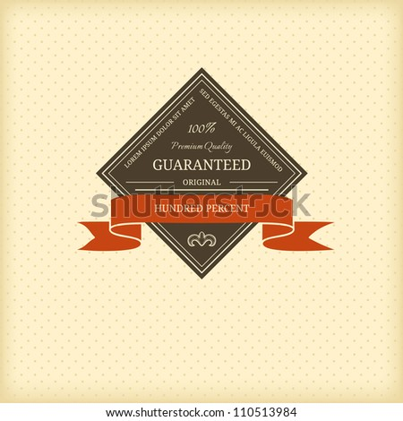 Vintage frame with red ribbon - stock vector