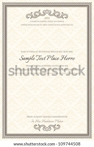 Vintage frame with retro seamless pattern - stock vector