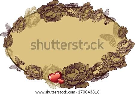 Vintage frame with roses and hearts, vector illustration. - stock vector