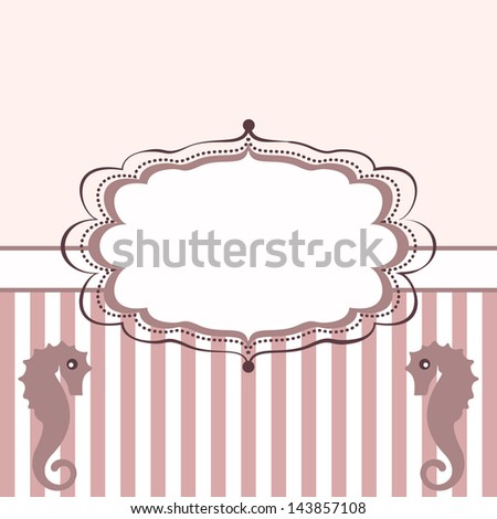 Vintage frame with seahorses. Background with stripes - stock vector