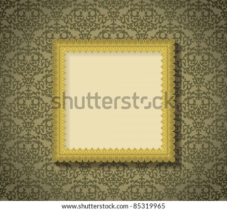 Vintage frame with shadow on seamless damask background. Background is situated on own layer and can be used separately. - stock vector