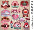 Vintage frame with Valentines label set, cupcake, bird, cupid, chocolate, rose - stock vector