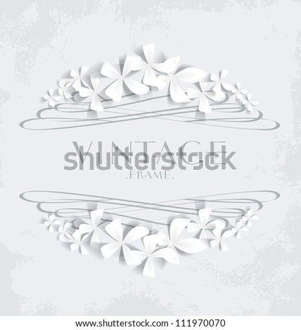 Vintage frame with white flowers for greeting cards - stock vector