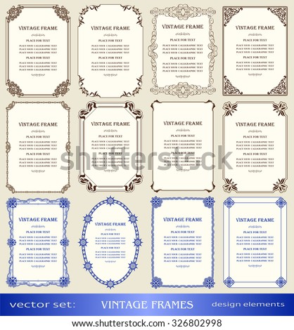 Vintage frames and borders set, book covers and pages, christmas and new year  decorations, calligraphic, ornamental photo, text frames, creative design element, decor for certificate, award, diploma - stock vector
