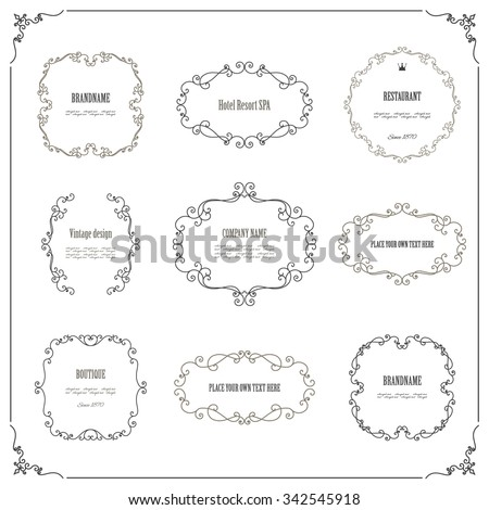 Vintage frames and borders set. Calligraphic design elements. - stock vector