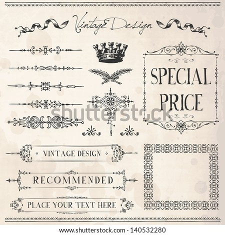 Vintage Frames and design elements with old paper texture - stock vector