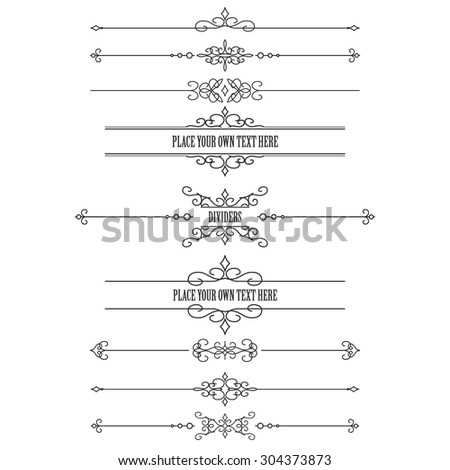 Vintage frames and dividers set isolated on white. Calligraphic design elements.