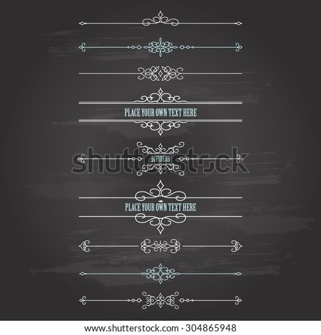 Vintage frames and dividers set on chalkboard background. Calligraphic design elements. - stock vector