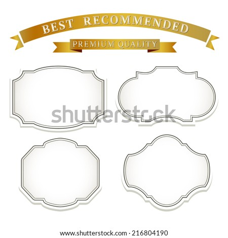 Vintage frames and ribbons design template with retro card and place for text. - stock vector