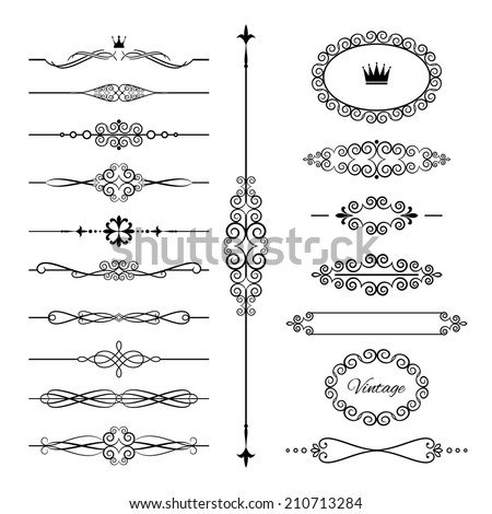 Vintage frames, dividers and page decoration set. Calligraphic design elements. Isolated on white. - stock vector